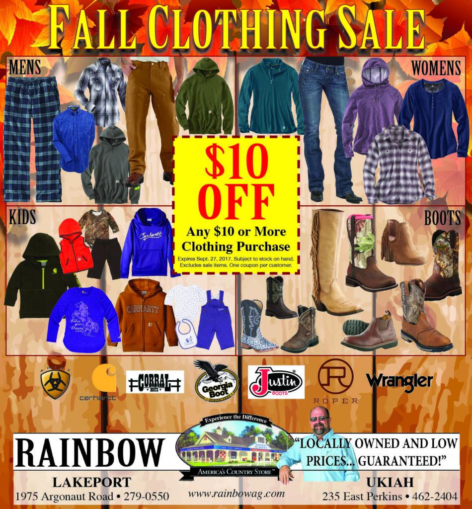 Rainbow's Fall Clothing Sale