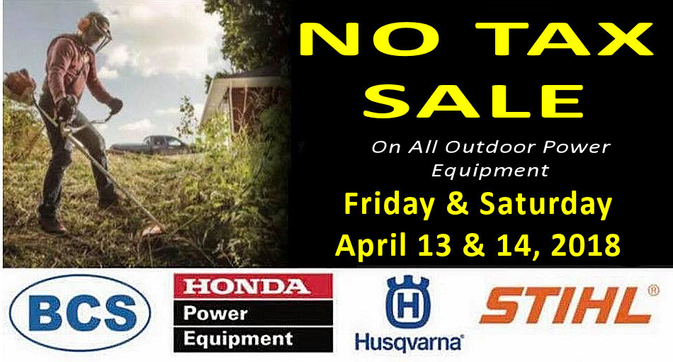 No Tax Sale on All Outdoor Power Equipment